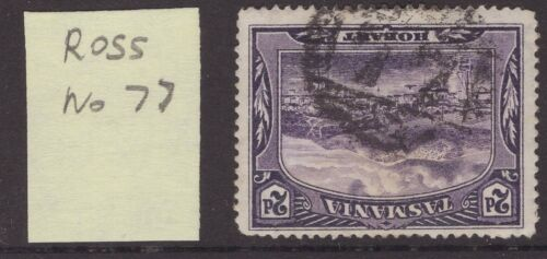 Tasmania numeral cancel 77 (Ross) on 2d pictorial