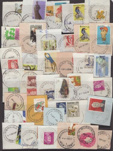 NSW page of circa 1980 postmarks on piece all start with M