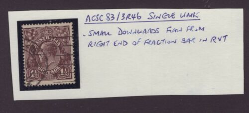 Australia s/crown w/m KGV 1½d with annotated flaw ACSC 83/3R46 position