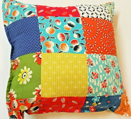 Retro Print Hand Crafted Patchwork Square Cushion 38x38cm, As New Unused
