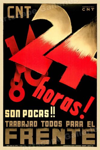 """""""24 Hours are Few!"""" 1930s Spanish Civil War Poster - 24x36Art Posters - 28009"""