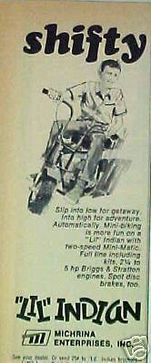 """1969  """"Lil"""" Indian Mini Bike Motorcycle Trade Shifty AD"""