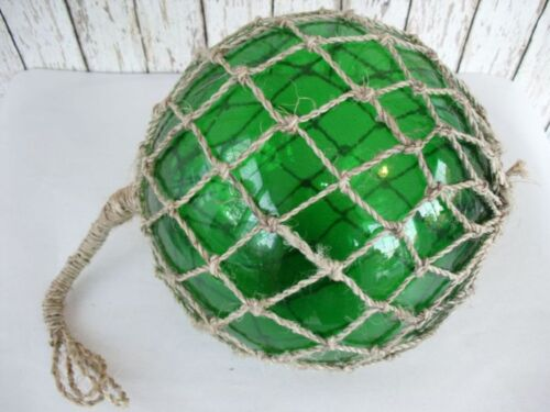 "10"" Green Glass Fishing Float ~ Fish Net Buoy ~ Nautical Maritme Decor"