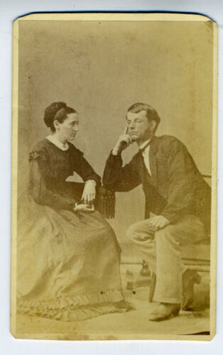 Unusual 1870s CDV Photo of Bored Man & his Wife