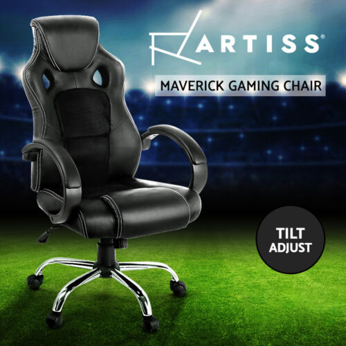 Artiss Gaming Office Chair Computer Chairs Seating Racer Racing Executive Black <br/> Quality PU Leather / Tilt Adjustment / 3-Yr Warranty