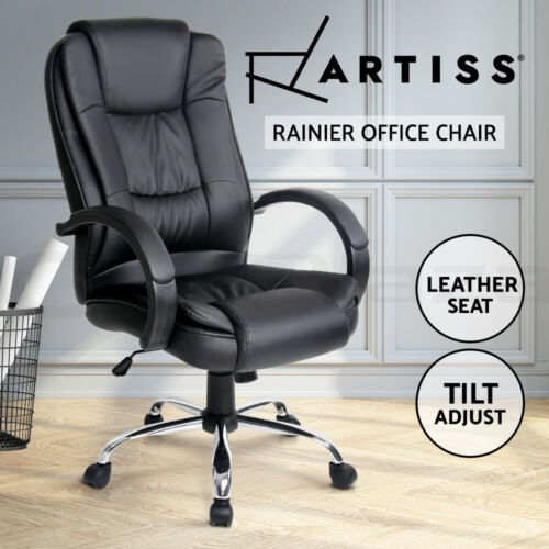 Artiss Executive Premium Leather Office Chair Home Computer Black Seating Chairs <br/> Thick Padded Seat / Tilt Adjustment / 3-Yr Warranty