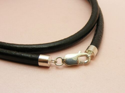 ~Custom Made~ 925 STERLING SILVER 2mm / 3mm / 4mm LEATHER Cord Choker NECKLACE