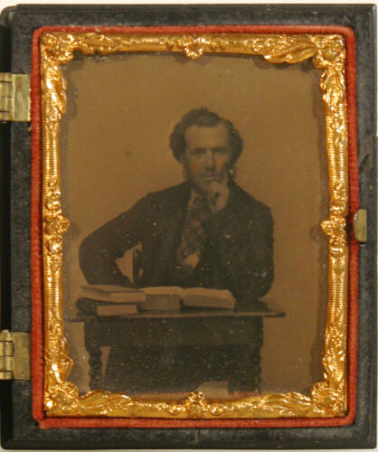 MAN AT DESK W/ 3  BOOKS AMBROTYPE IN UNION CASE NINTH PLATE 1850'S