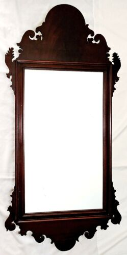 """c1800 Chippendale mirror, flame mahogany, well moulded / scrolled frame, 42"""" t,"""