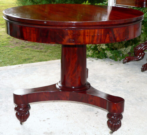 "c1830 Classical Empire center table, mahogany/rosewood, 35""d,"