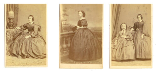 CDV YOUNG LADY W/ POLKA DOT DRESS & MOTHER (SET OF 3)