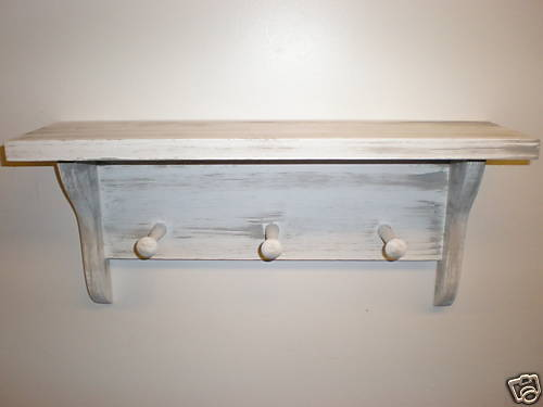"White Weathered Look 3 Peg Shaker Shelf 19"" Long Primitive (Rustic) Wood"