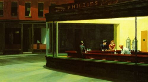 Nighthawks New York Bar Diner Edward Hopper Vintage Poster Repo FREE S/H