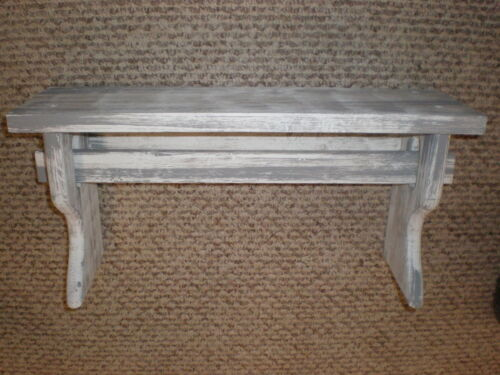 "White Weathered Looked Towel/Quilt Shelf 19"" Long Primitive (Rustic)"