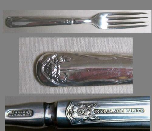 BRIDAL ROSE aka LA ROSE 1911 DINNER FORK SOLID HANDLE BY RELIANCE PLATE