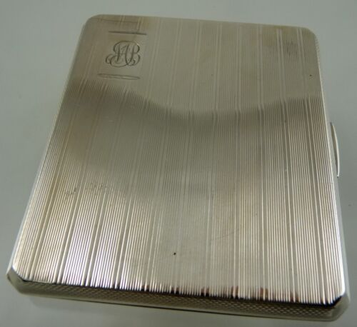 ENGLISH STERLING ART DECO CIGARETTE CASE BIRMINGHAM 1945 Bishton's Ltd