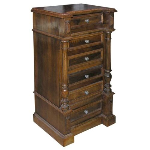 FRENCH MAHOGANY BEDSIDE CABINET WITH FOSSILIZED STONE TOP 19TH CENTURY