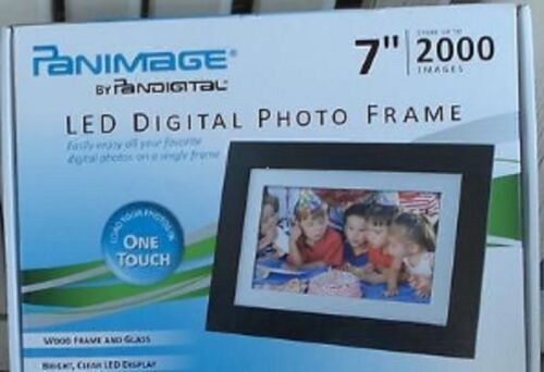 """Panimage Led Digital Photo Frame, 7"""", 2000 Images, One Touch, BRAND NEW IN BOX"""