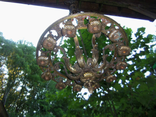 EARLY 20TH.C SOLID BRONZE 12 LIGHT CHANDELIER 55 INS. TALL, 28 INS. ACROSS CENTE