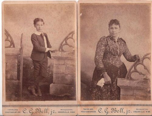 LADY WITH GREAT PRINT DRESS AND YOUNG BOY, TRAVELING PHOTOGRAPHER, SET OF 2, CAB