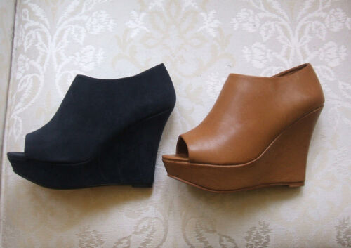 NEW PRIMARK SIZE 7 OR 8 TAN OR BLUE FAUX SUEDE HIGH WEDGE HEEL SHOE BOOTS SHOES