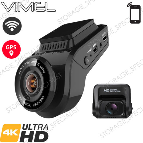 Vimel Dual Dash Camera 4K GPS WIFI Wireless Car Taxi Security Cam Truck Uber