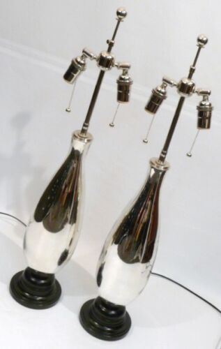 MERCURY GLASS TEARDROP MID-CENTURY MODERNE RETRO VINTAGE REGENCY TABLE LAMPS