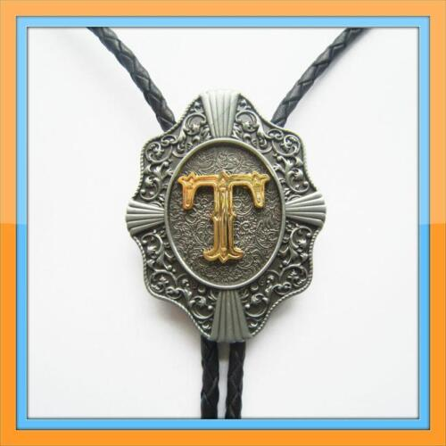 """NEW INITIAL """" T """" RODEO COWBOY BOLOTIE WESTERN BOLO TIE"""
