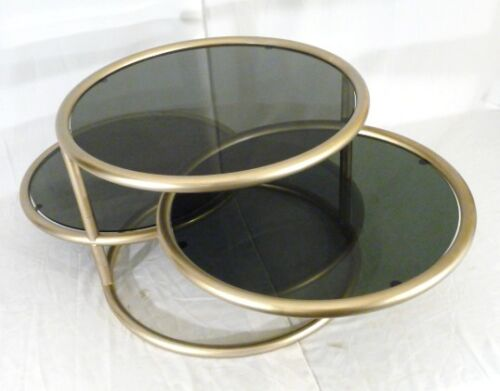 MID-CENTURY SATIN BRASS GREY14 GLASS ADJUSTABLE DRUM FORM COCKTAIL TABLE 1960s
