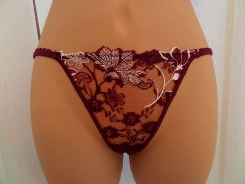 PIERRE CARDIN BURGUNDY WHITE LACE THONG 9482 BNWT MATCHING BRA 9484 AVAILABLE