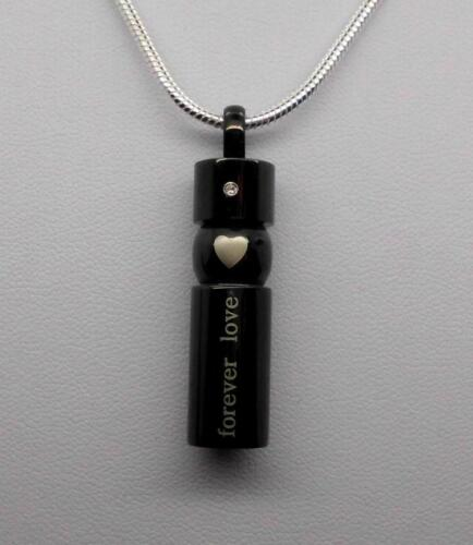 """316L Stainless """"Forever Love"""" Cylinder Keepsake Urn Pendant Funeral Jewellery"""