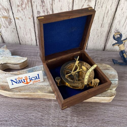 """Large 3.75"""" Brass Sundial Desk Compass w/ Wooden Box - Old Vintage Antique Style"""