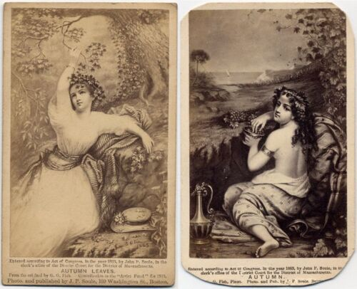 AUTUMN IN PAINTING BY J P SOULE BOSTON VINTAGE CDV SET OF 2