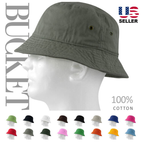 MEN 100% COTTON FISHING BUCKET HAT CAP