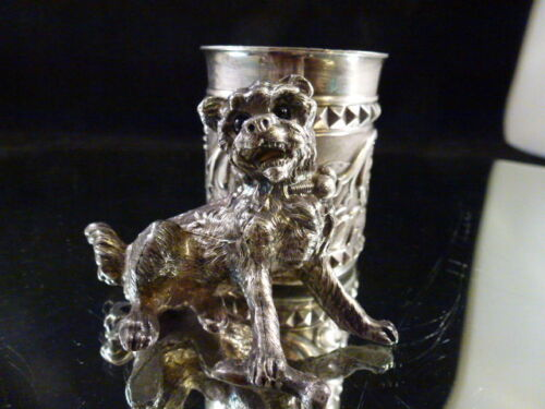 ANTIQUE JAMES W. TUFTS  BOSTON QUADRUPLE PLATE DOG TOOTHPICK HOLDER # 3412