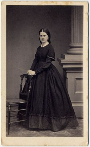 CIVIL WAR ERA LADY IN BEAUTIFUL LONG DRESS BY DOUGHTY WINSTED, CT CDV