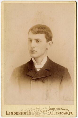 YOUNG MAN WELL DRESSED ARTIST PHOTOGRAPHER ALLENTOWN, PA CABINET PHOTO