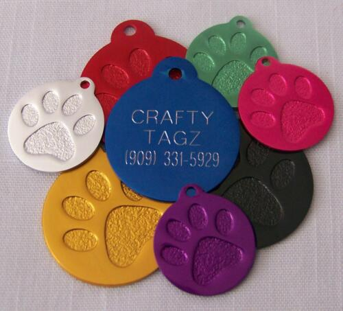 PET TAGS PAW PRINT ENGRAVED FOR DOG OR CAT CUSTOM ENGRAVED CIRCLE CHARM TAG