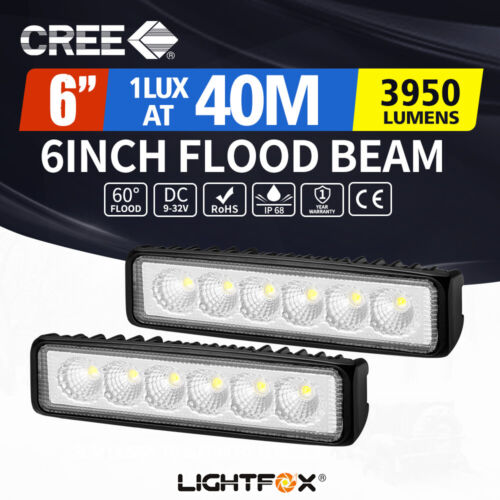 LightFox Pair 6inch Cree LED Work Light Bar Flood Beam Lamp Reverse Offroad 4x4 <br/> 20% off* with code PATRON20. Ends 29/10.T&Cs apply.