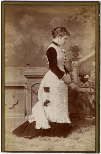 SIDE VIEW PORTRAIT OF A YOUNG WOMAN BEAUTIFUL DRESS VINTAGE CABINET CARD