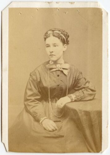 YOUNG LADY IN BEAUTIFUL LONG SATIN DRESS WITH BOW ANTIQUE CDV