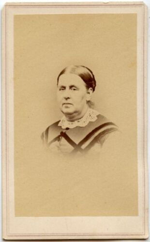 LADY IN BEAUTIFUL DRESS AND LACE COLLAR ANTIQUE CDV