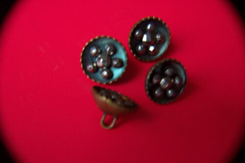19th C Antique 4 BUTTONS Steel Cut Studs in Gilded Cup