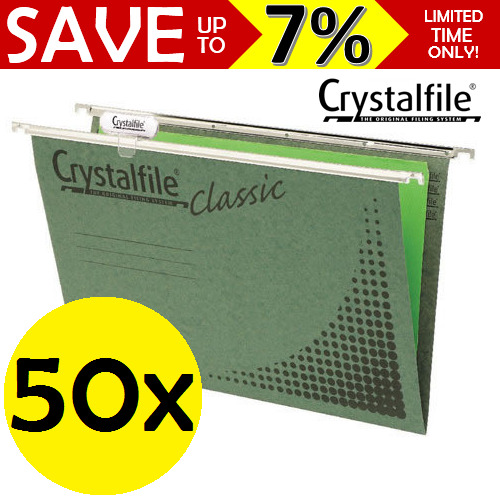 NEW 50x Crystalfile Suspension Files Foolscap Classic Green + Tab Inserts Filing