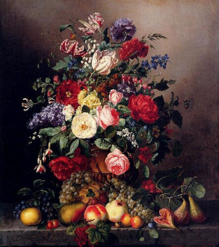 """Dream-art oil painting A Still Life With Assorted flowers & fruits on canvas 36"""""""