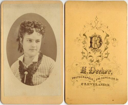 YOUNG LADY IN BEAUTIFUL STRIPED DRESS W/ EARRINGS BY DECKER, CLEVELAND, OH, CDV