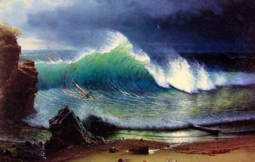 """Handpainted Oil painting seascape The Shore of the Turquoise Sea & waves 24""""x36"""""""