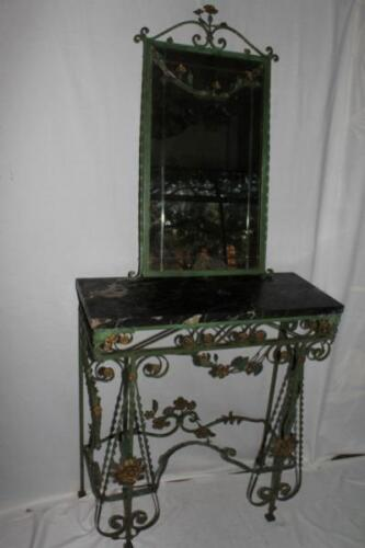 French Wrought Iron Marble Top Console and Mirror with Elaborate Details c.19th