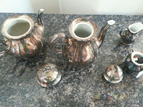 WMF German 1890s!! TEA COFFEE  SILVER on PORCELAIN SUGER CREAMER.offers welcome!