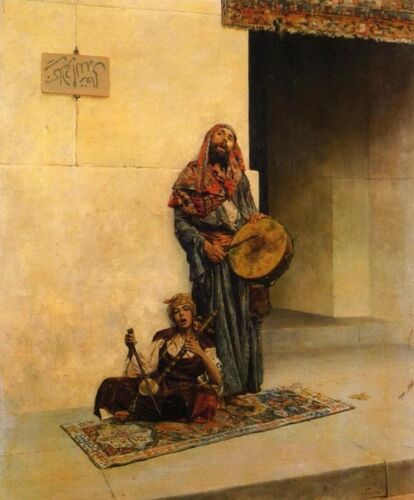 """Dream-art Oil painting Street Musicians in a Middle Eastern Town canvas art 36"""""""